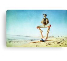 Acroyoga and music at the beach Canvas Print