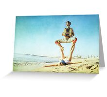 Acroyoga and music at the beach Greeting Card
