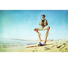 Acroyoga and music at the beach Photographic Print