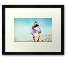Acroyoga Flying Capotasana in the beach  Framed Print