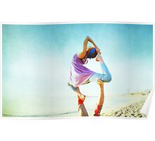 Acroyoga Flying Capotasana in the beach  Poster