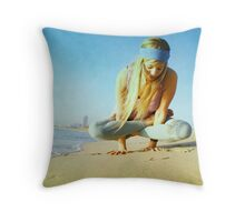 Elevated lotus at the beach Throw Pillow