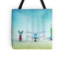 Headstand variations at Barcelona Tote Bag