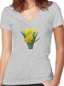 Three Daffodils Standing Guard Women's Fitted V-Neck T-Shirt