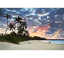 Tropical Caribbean White Sand Beach Paradise at Sunset Photographic Print