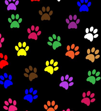 Paw Prints Colorful Background Sticker