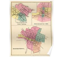 Vintage Map of Annapolis, Frederick and Hagerstown Poster
