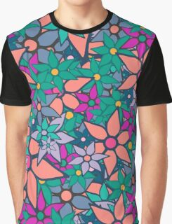 Trendy Floral Pattern Graphic T-Shirt