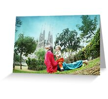 Upward dog with kid Greeting Card