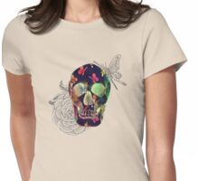Colorful Hand Drawn Skull with Butterflies on Canvas Womens Fitted T-Shirt