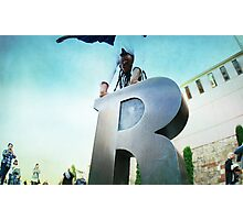 Handstand over the 'R' of Barcelona  Photographic Print