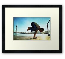 Yoga at the Port Olimpic, Barcelona Framed Print