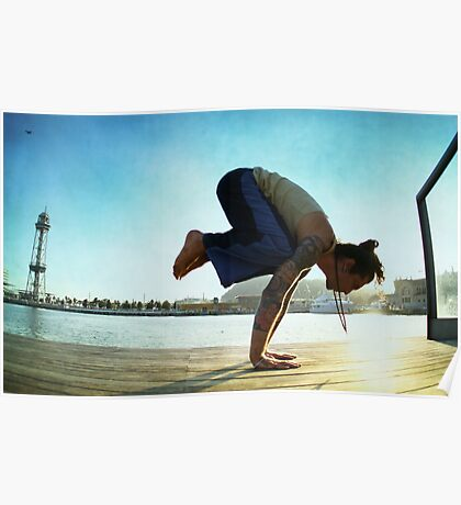 Yoga at the Port Olimpic, Barcelona Poster