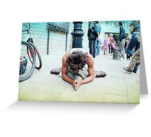 Humble meditation in the streets of Barcelona Greeting Card