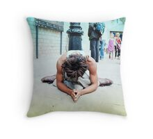 Humble meditation in the streets of Barcelona Throw Pillow