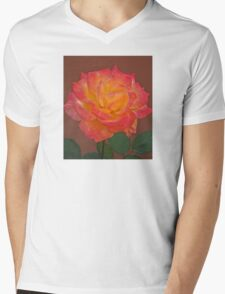 BEAUTIFUL PEACE ROSE AGAINST TERRA COTTA WALL Mens V-Neck T-Shirt