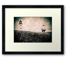 Peggy's Cove Seagull & Lighthouse Framed Print