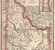 Vintage Map of Idaho (1883) by BravuraMedia