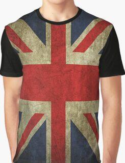 Antique Faded Union Jack UK British Flag Graphic T-Shirt