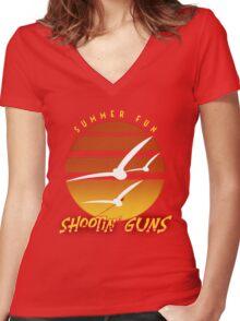Summer Fun Shootin' Guns Women's Fitted V-Neck T-Shirt