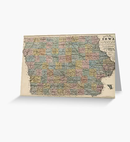 Vintage Map of Iowa (1875) Greeting Card