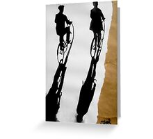 two men on cycles Greeting Card
