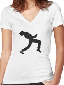Freddie Mercury Silhouette  Women's Fitted V-Neck T-Shirt