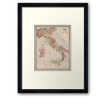 Vintage Map of Italy (1883) Framed Print