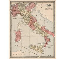 Vintage Map of Italy (1883) Photographic Print
