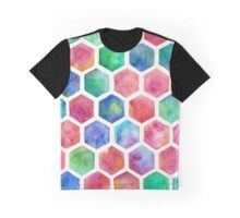 Hand Painted Watercolor Honeycomb Pattern Graphic T-Shirt