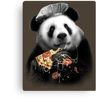 PANDA LOVES PIZZA Canvas Print