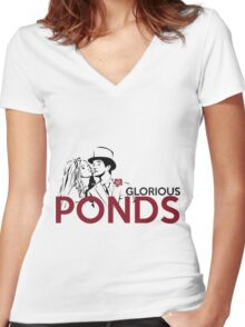 Glorious Ponds Women's Fitted V-Neck T-Shirt