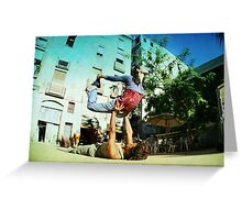 Acroyoga in the streets of Barcelona  Greeting Card