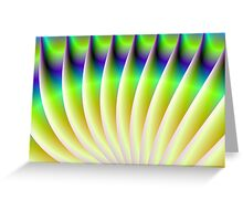 Neon Fan in Yellow Green and Blue Greeting Card