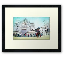 Double handstand on front Santra Maria del Mar, Barcelona Framed Print