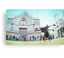 Double handstand on front Santra Maria del Mar, Barcelona Canvas Print