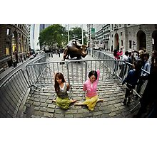 Yoga at the Wall Street Bull, New York Photographic Print