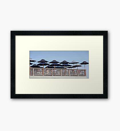 Seafood Shanty Umbrellas Framed Print
