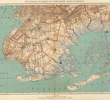 Vintage Map of Jamaica Bay and Brooklyn NY (1891) by BravuraMedia