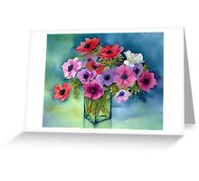 Anemones in a green vase Greeting Card