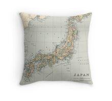 Vintage Map of Japan (1892) Throw Pillow