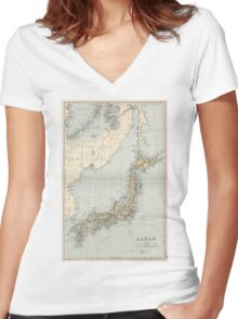 Vintage Map of Japan (1892) Women's Fitted V-Neck T-Shirt