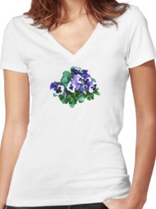 Bunch of Purple and White Pansies Women's Fitted V-Neck T-Shirt