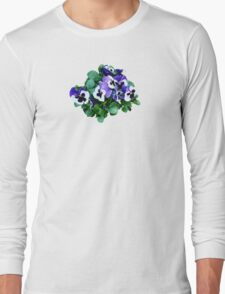 Bunch of Purple and White Pansies Long Sleeve T-Shirt