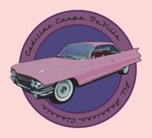 Pink Cadillac - Classic American Retro Car  One Piece - Short Sleeve