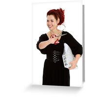 Modern girl with scissors and folder of documents Greeting Card