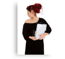 Young woman with folder of documents Canvas Print