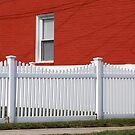 Red Wall and White Fence-toying with light by henuly1