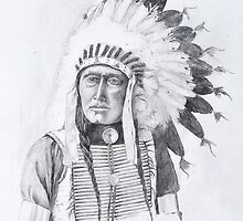 American Indian with Eagle Feather Headress by Steve Williams