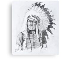 American Indian with Eagle Feather Headress Canvas Print